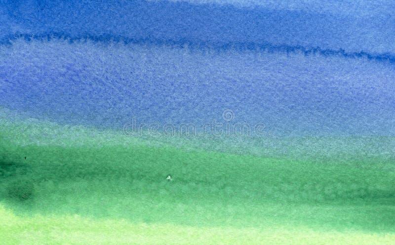 Groene aan blauwe waterverfachtergrond stock afbeelding