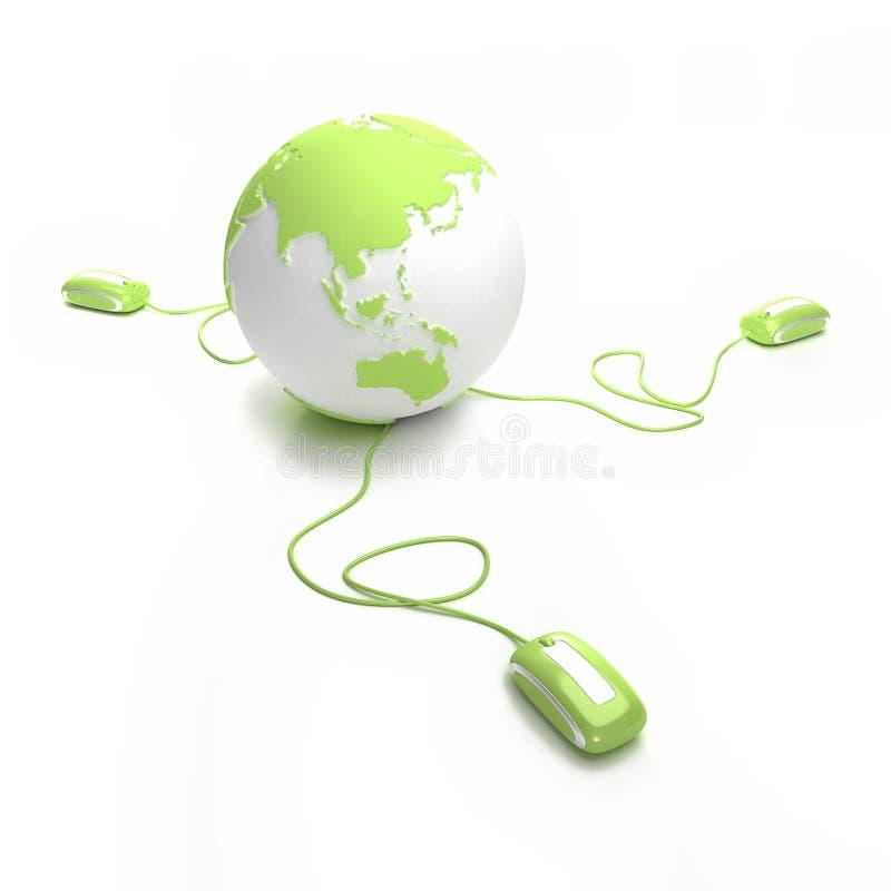 Groene aansluting online vector illustratie