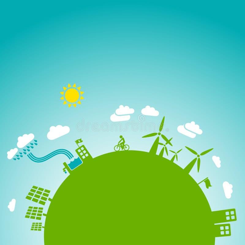Groene aarde, blauwe hemel royalty-vrije illustratie