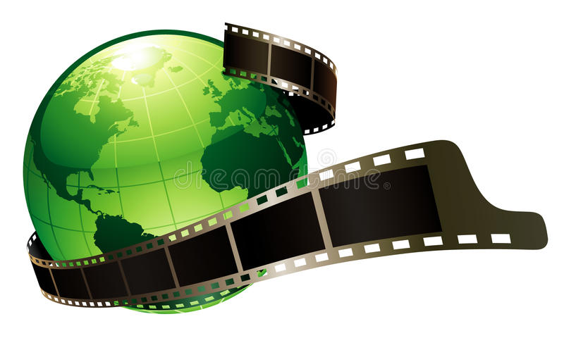 Groene aarde en film stock illustratie
