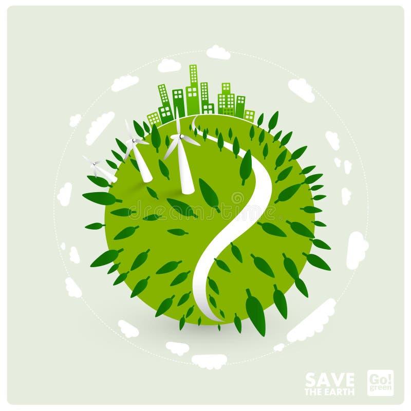 Groene aarde met windturbines royalty-vrije illustratie
