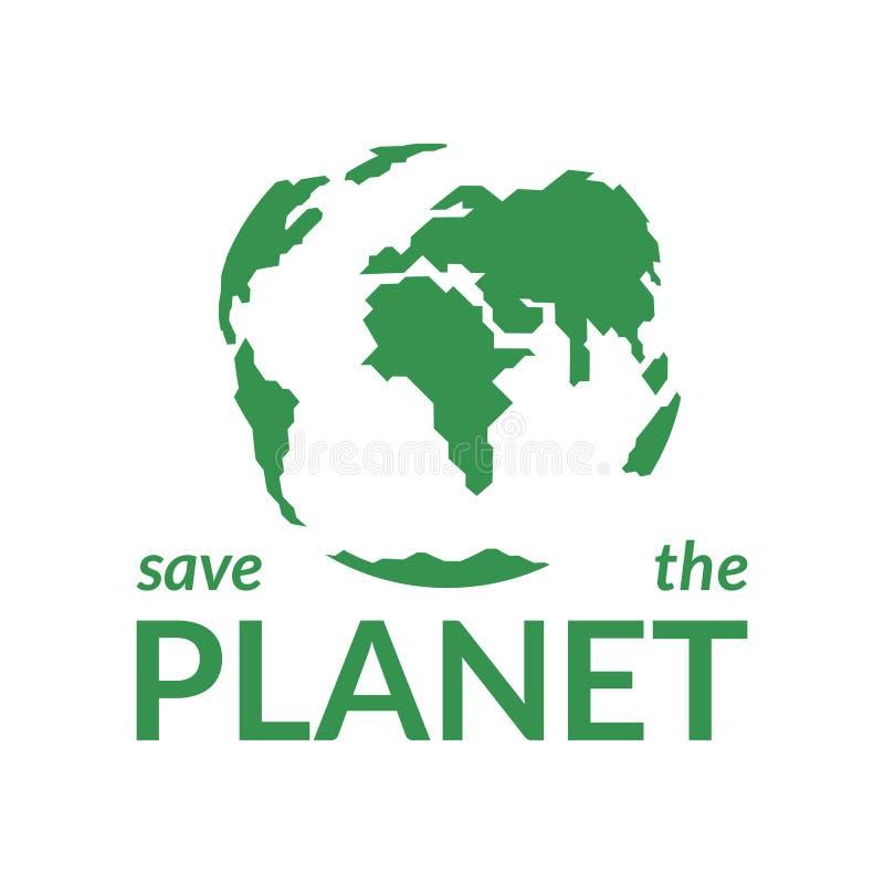 Groene aarde op een witte achtergrond Het concept bewaart de Planeet royalty-vrije illustratie
