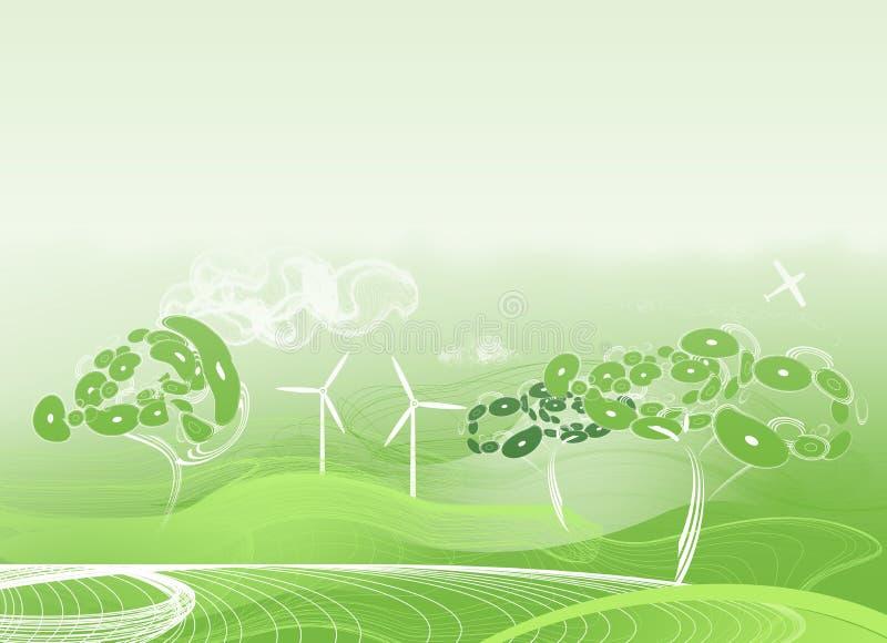 Groene abstracte achtergrond met vreemde bomen stock foto