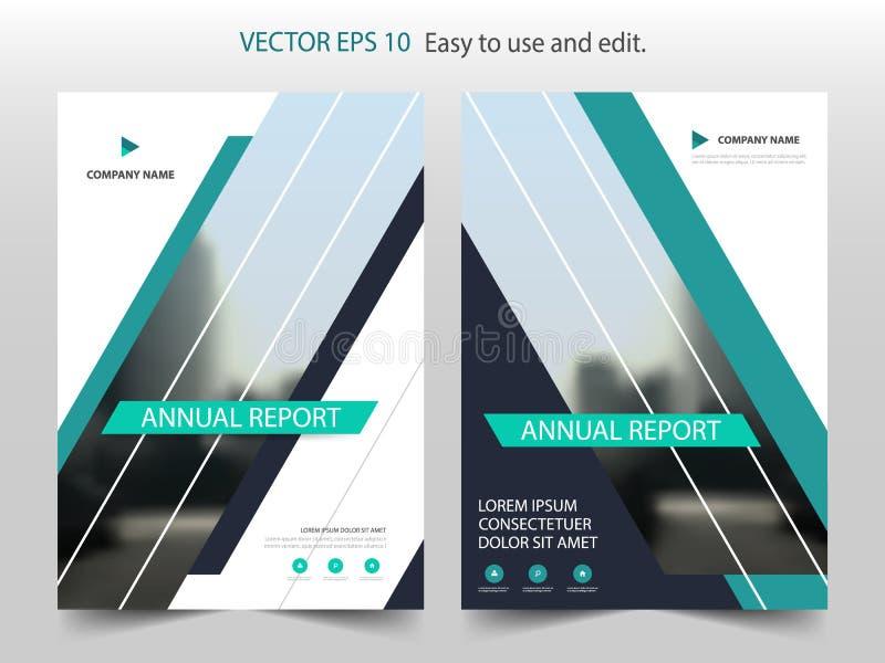 Groene abstracte van het de Brochureontwerp van het driehoeks jaarverslag het malplaatjevector Affiche van het bedrijfsvliegers d vector illustratie