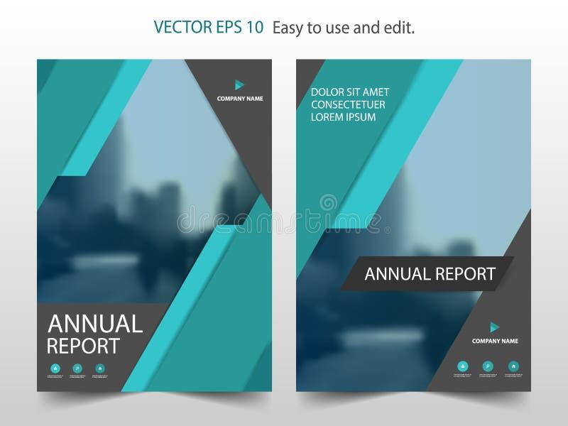 Groene abstracte van het het jaarverslagontwerp van de driehoeksbrochure het malplaatjevector Affiche van het bedrijfsvliegers de vector illustratie