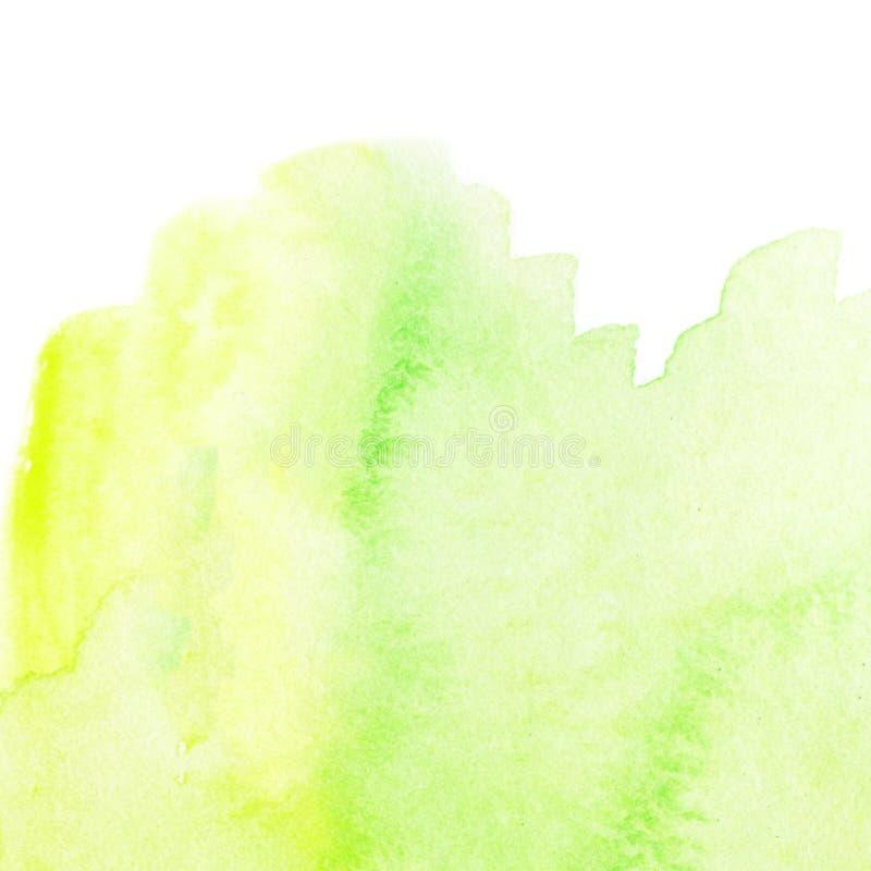 Groene abstracte waterverfplons Natte Watercolour-daling voor uw royalty-vrije stock foto's