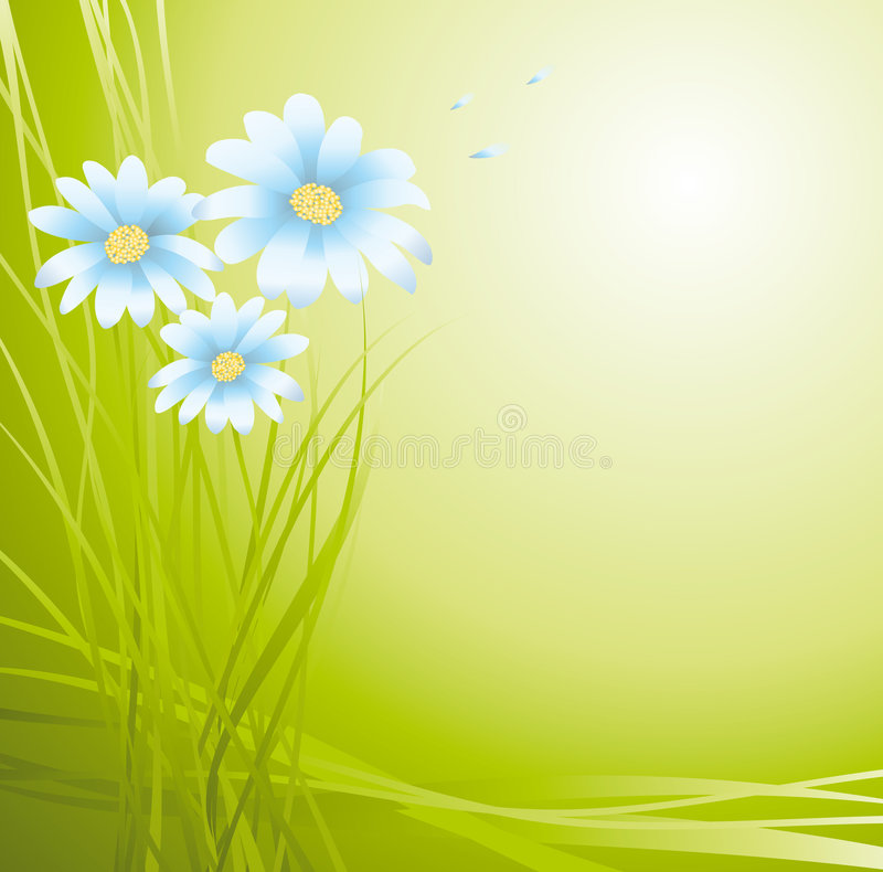 Groene achtergrond met bloemen royalty-vrije illustratie