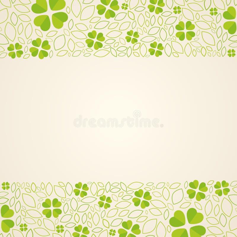 Groene achtergrond met cloverleafs royalty-vrije illustratie