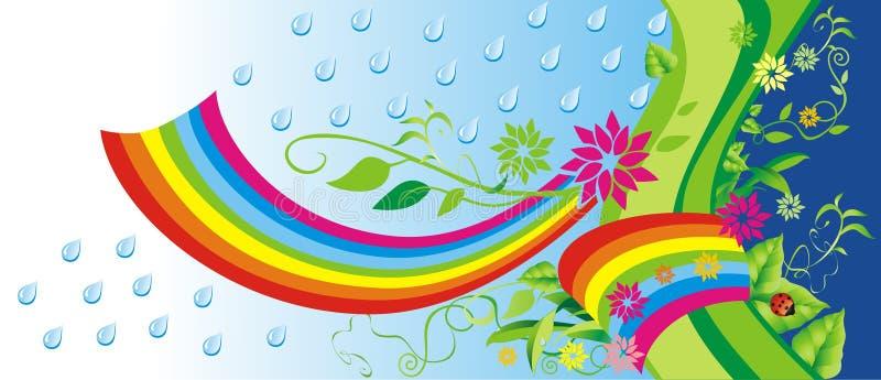 Groene achtergrond met regenboog. vector illustratie