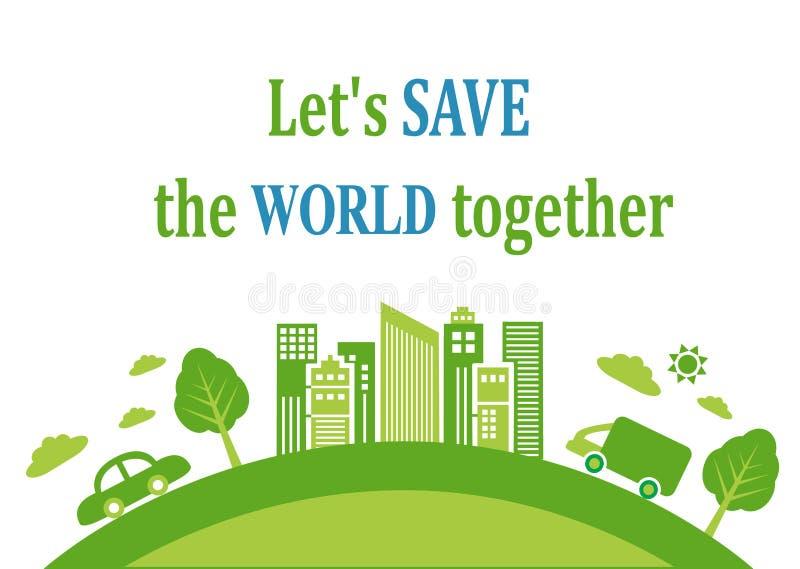 Groene achtergrond over ecologie stock illustratie