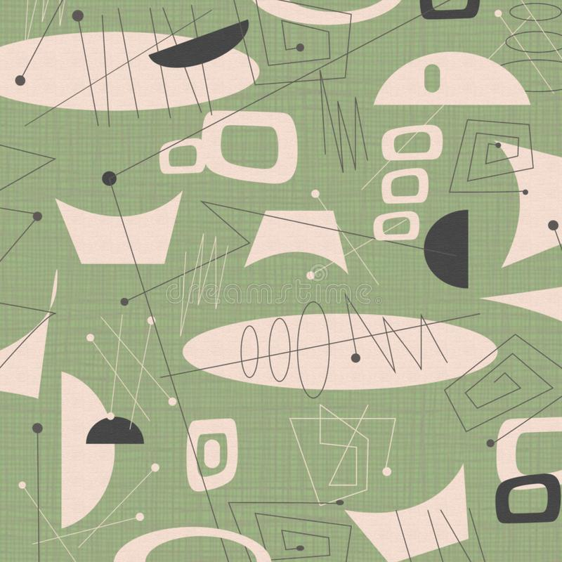 Groene achtergrond van de midden van de eeuw de moderne stof royalty-vrije illustratie