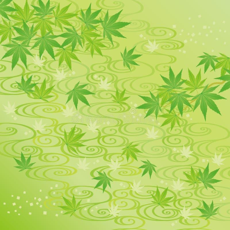 Groene achtergrond van Japanse esdoornbladeren vector illustratie