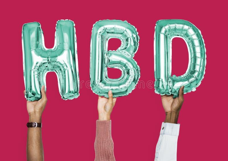 Groene alfabetballons die het woord HBD vormen royalty-vrije stock fotografie
