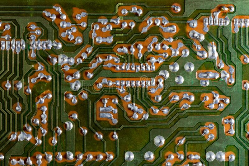 Groene analoge PCB zonder componenten vlakke achtergrond royalty-vrije stock fotografie