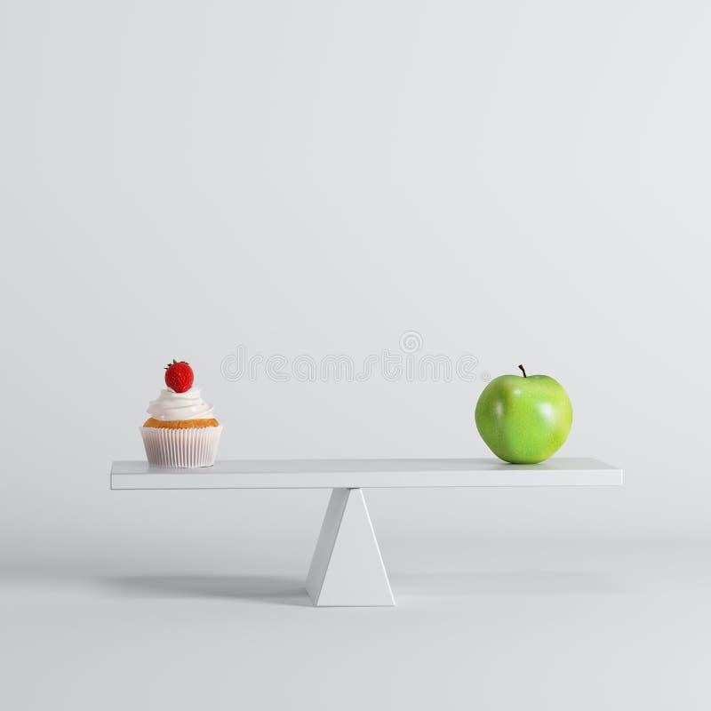 Groene appel die op geschommel met groene appel op tegenovergesteld eind op witte achtergrond tippen stock illustratie