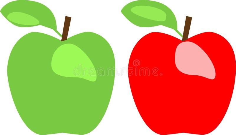 Groene appel en rode appel stock illustratie