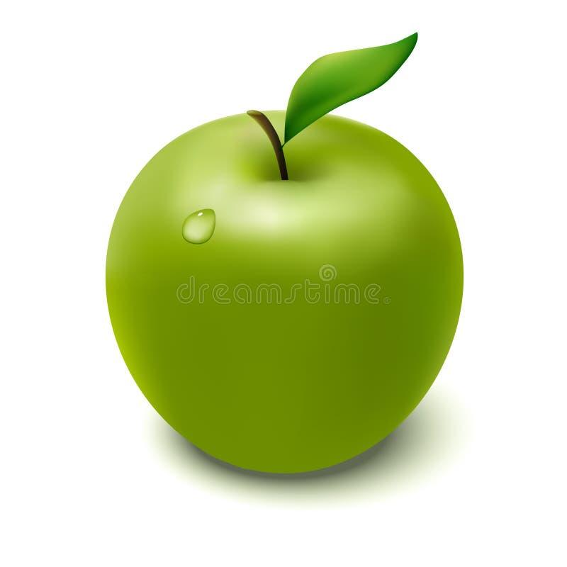 Groene appel met druppeltje royalty-vrije illustratie