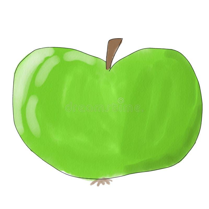 Groene appel, schets op witte achtergrond voor menuontwerp, banners, vliegers stock illustratie