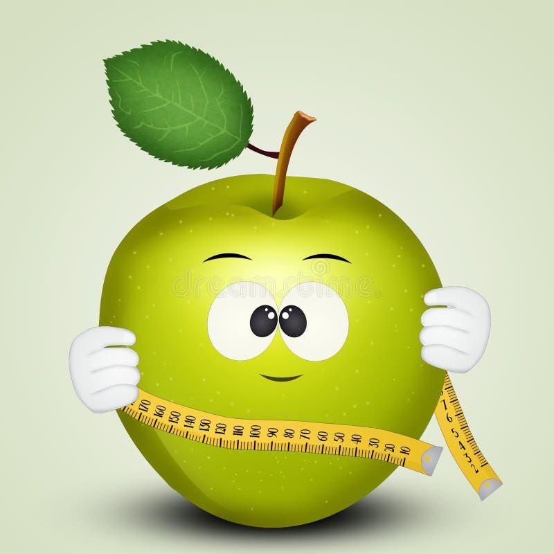Groene appel voor dieet royalty-vrije illustratie