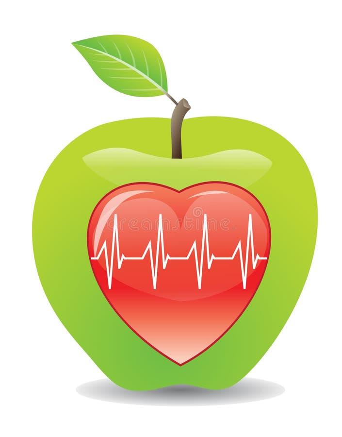 Groene appel voor een gezond hart, illustratie stock illustratie