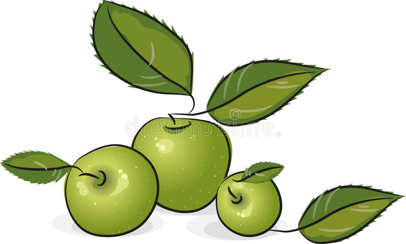 Groene appelen stock illustratie