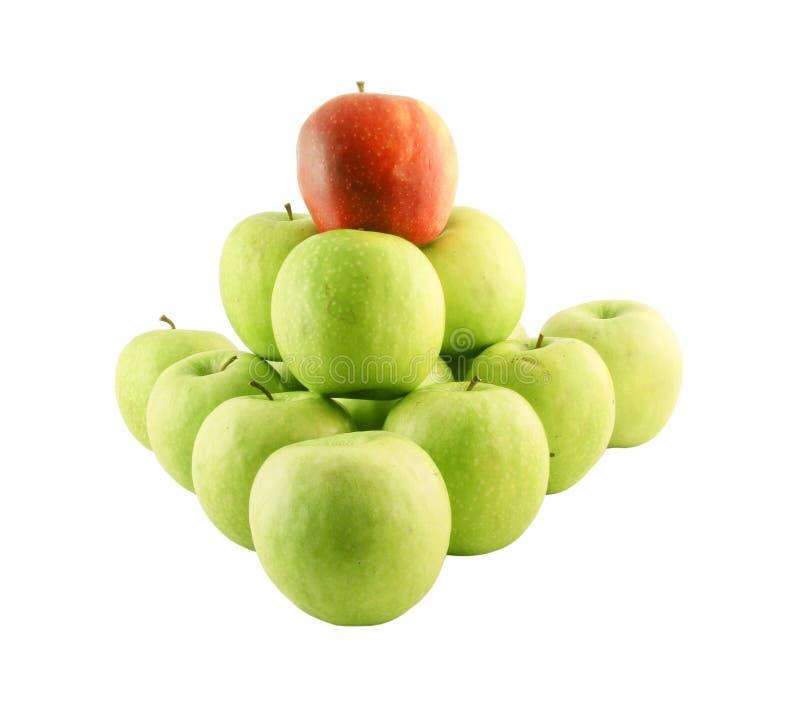 Groene appelen en rode  stock afbeeldingen
