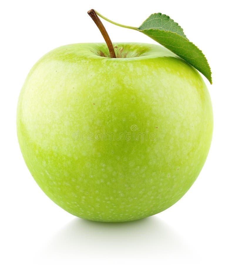 Groene appelvruchten met een op wit geïsoleerd blad royalty-vrije stock foto