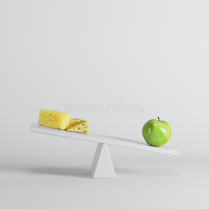 Groene appelzitting op geschommel met kaas op tegenovergesteld eind op witte achtergrond vector illustratie