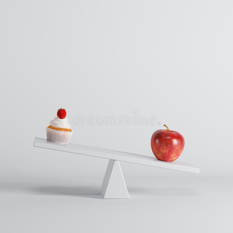 Groene appelzitting op geschommel met kopcake op tegenovergesteld eind op witte achtergrond stock illustratie