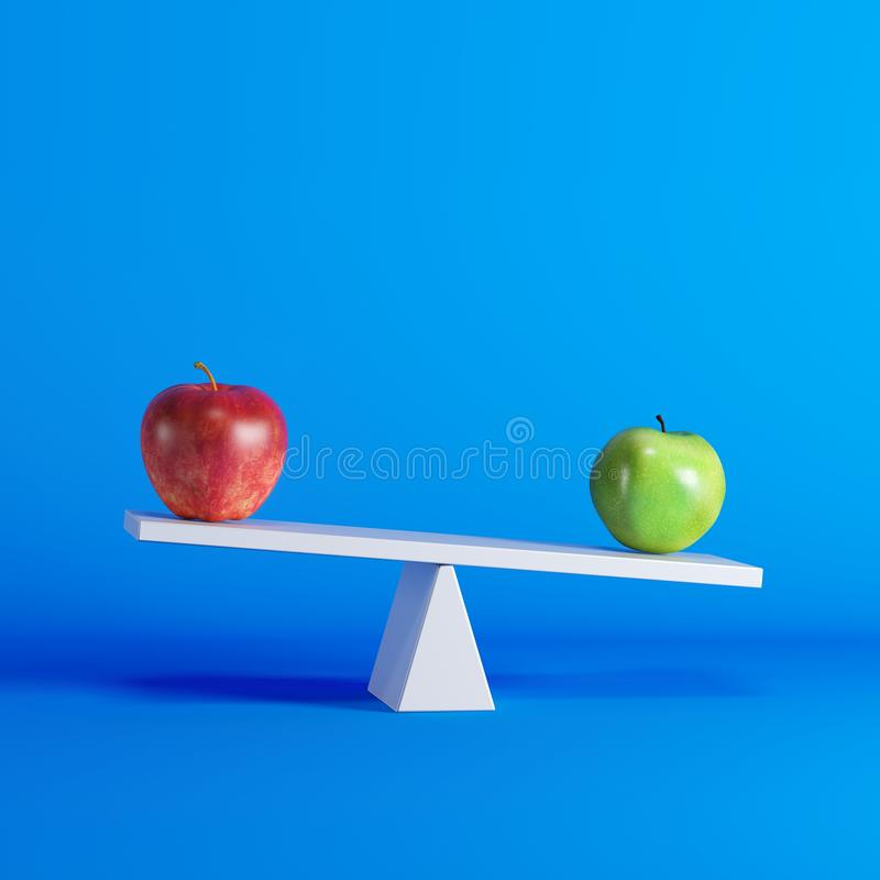 Groene appelzitting op geschommel met rode appel op tegenovergesteld eind op blauwe achtergrond royalty-vrije illustratie