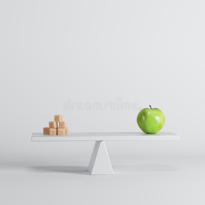 Groene appelzitting op geschommel met suikerkubussen op tegenovergesteld eind op witte achtergrond stock illustratie