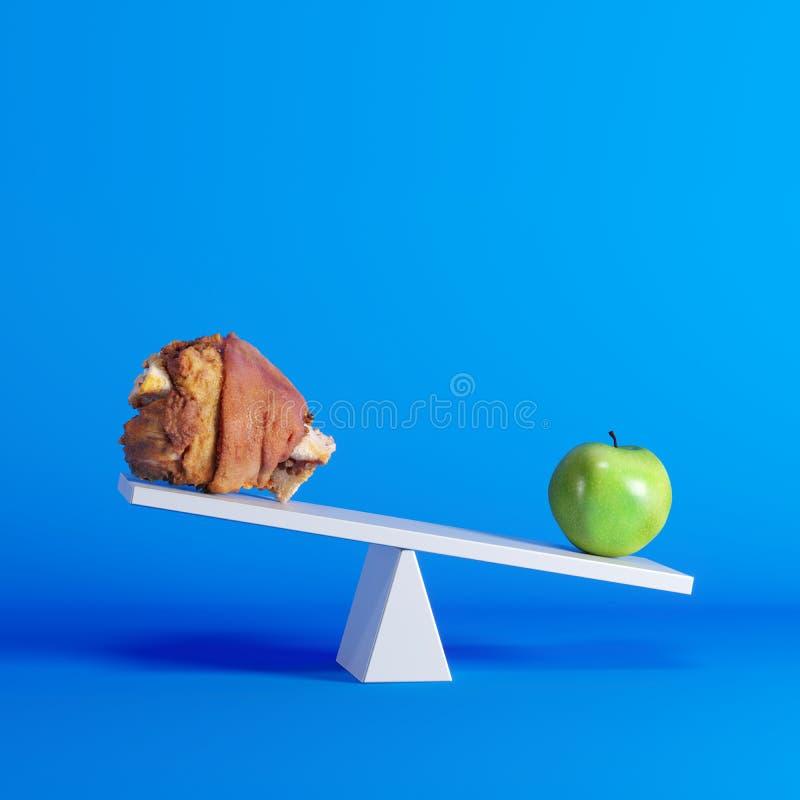 Groene appelzitting op geschommel met varkensvleesbeen op tegenovergesteld eind op blauwe achtergrond vector illustratie