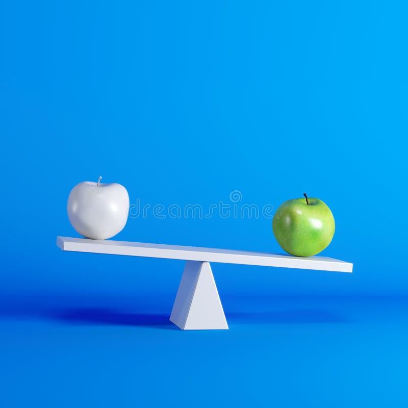 Groene appelzitting op geschommel met witte appel op tegenovergesteld eind op blauwe achtergrond stock illustratie