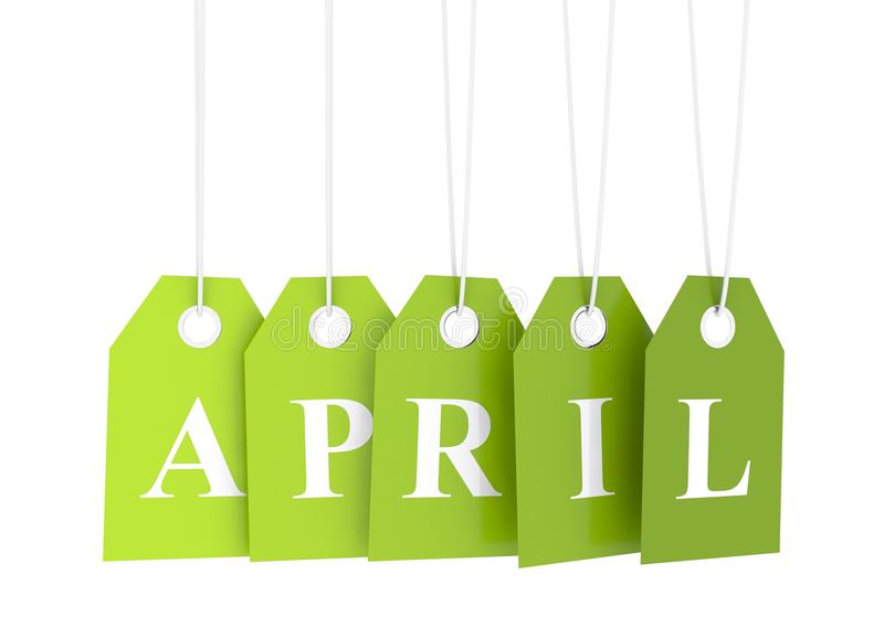 Groene april-etiquette vector illustratie