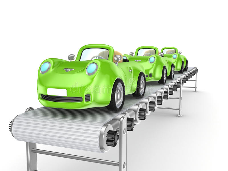 Groene auto's op transportband. vector illustratie