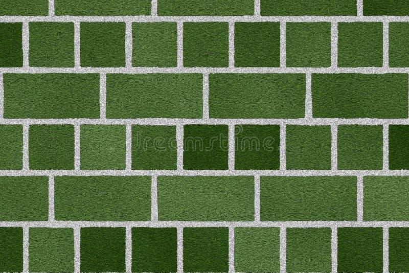 Groene bakstenen muur stock illustratie