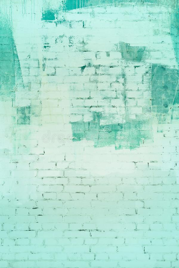 Groene bakstenen muur geschilderde samenvatting Achtergrond, Textuur stock fotografie