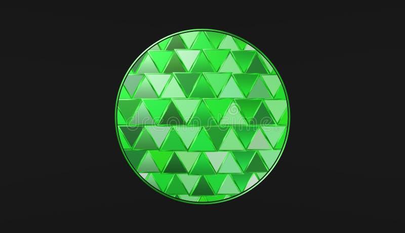Groene bal op zwarte achtergrond, mooi behang, illustratie royalty-vrije illustratie