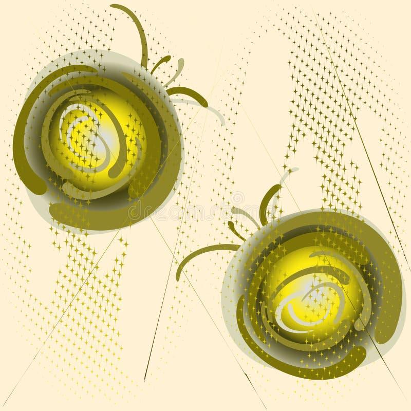 Groene ballen op fonkelende halftone achtergrond Abstracte illustratie, vectorillustratie voor embleemontwerp, affiche royalty-vrije illustratie