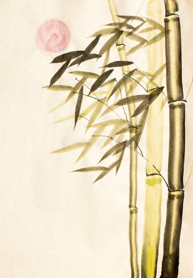 Groene bamboeboom en zon stock illustratie