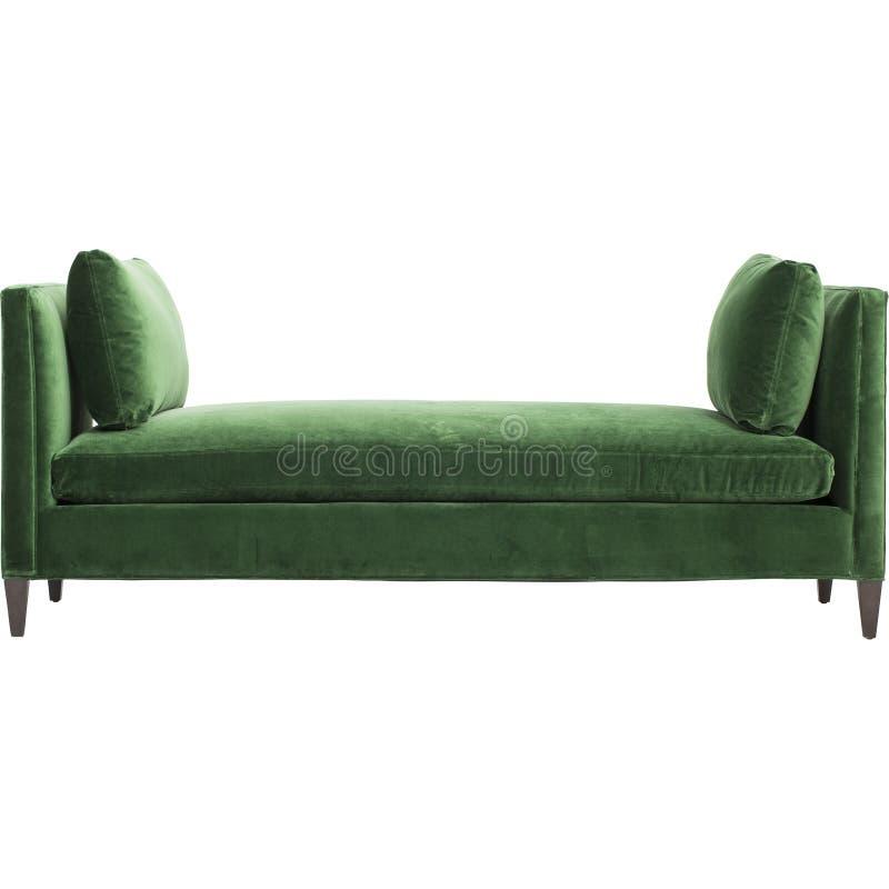 Groene bank die op witte achtergrond wordt ge?soleerd= A daybed laag op een witte achtergrond royalty-vrije stock afbeeldingen
