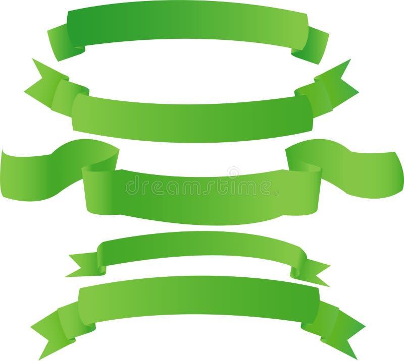 Groene banners stock illustratie