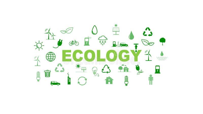 Groene Bedrijfsmalplaatje en achtergrond voor Duurzaamheid en Ecologieconcept met vlakke pictogrammen vector illustratie