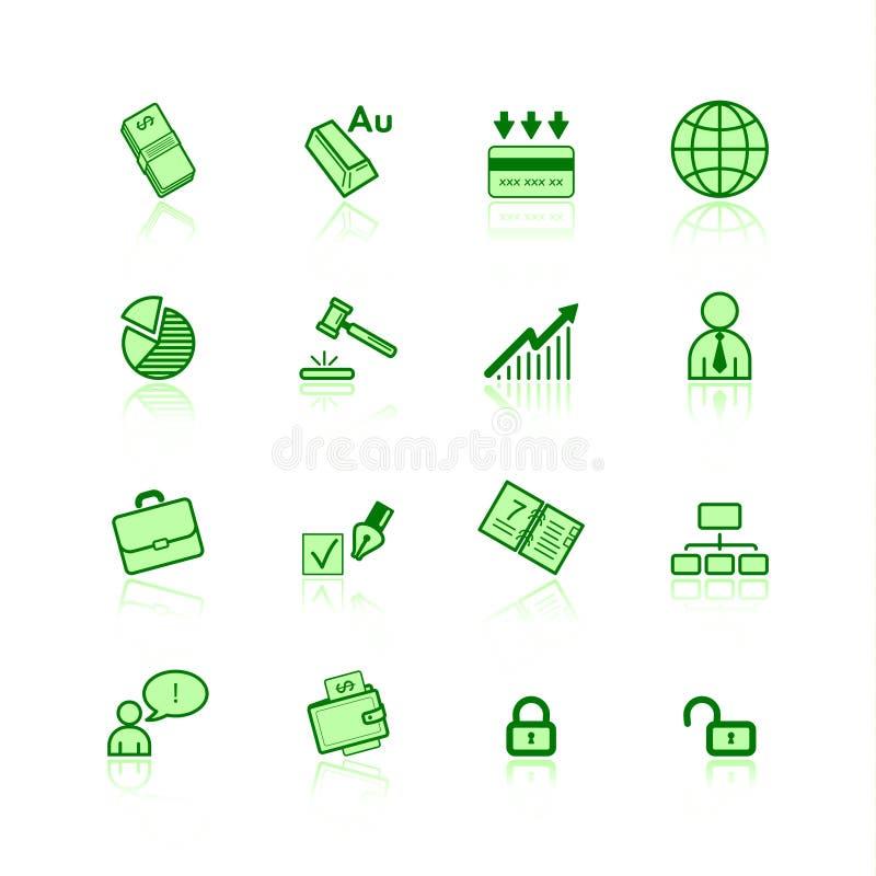 Groene bedrijfspictogrammen royalty-vrije illustratie