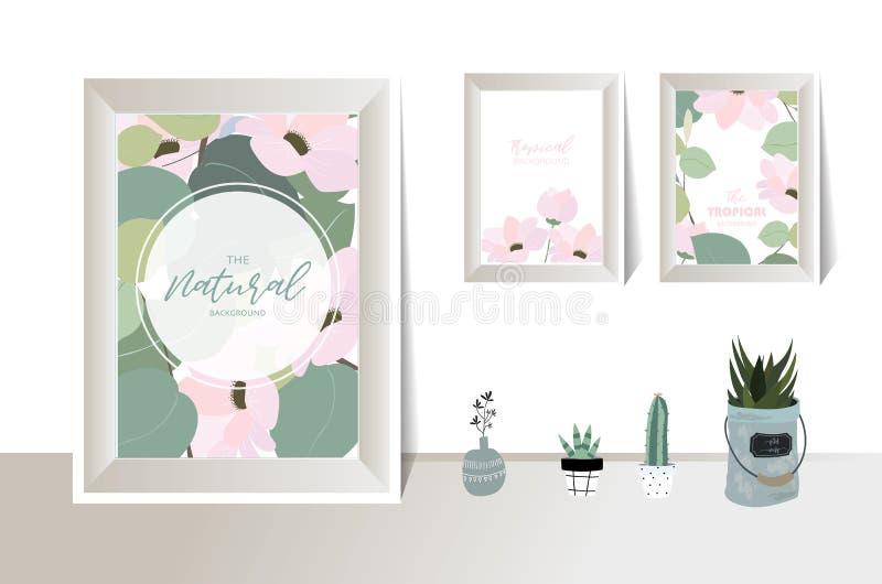 Groene bekendheid met cactus, blad, bloem op de muur royalty-vrije illustratie