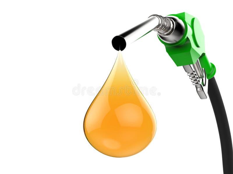 Groene benzinepomppijp met druppeltje van olie royalty-vrije illustratie