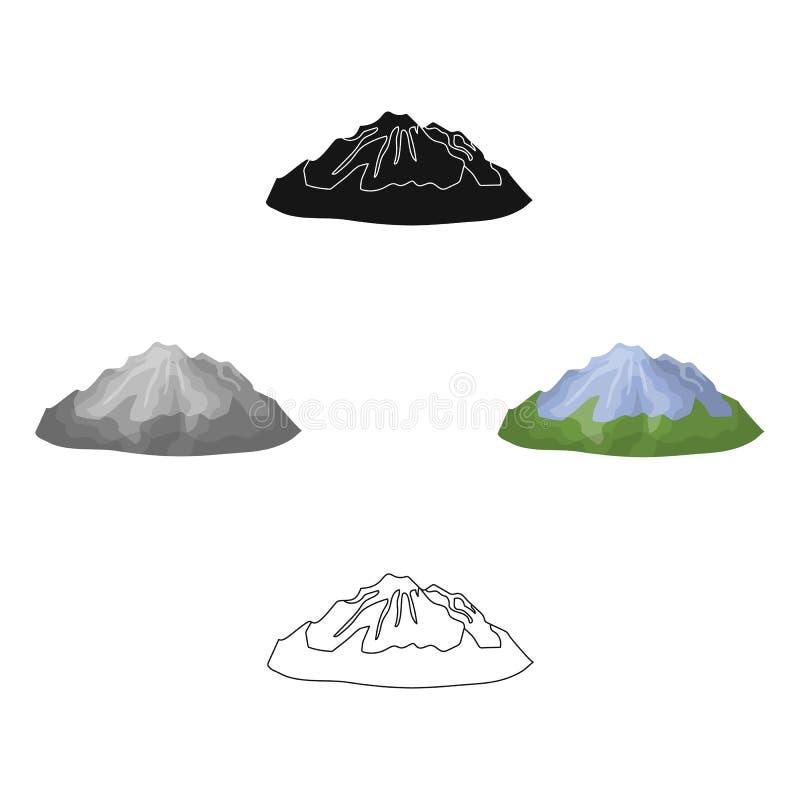 Groene bergen Berg met Sneeuw De verschillende bergen kiezen pictogram in beeldverhaal, de zwarte voorraad van het stijl vectorsy stock illustratie