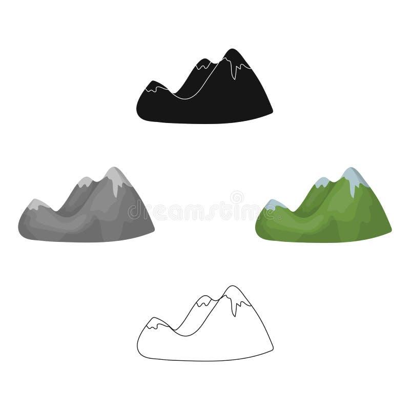 Groene bergen Bergketen met dicht forestDifferent bergen enig pictogram wordt behandeld in beeldverhaal, zwarte stijlvector die vector illustratie