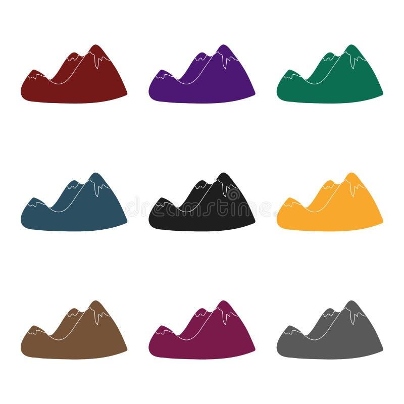 Groene bergen Bergketen met dicht forestDifferent bergen enig pictogram wordt behandeld in zwart stijl vectorsymbool dat vector illustratie