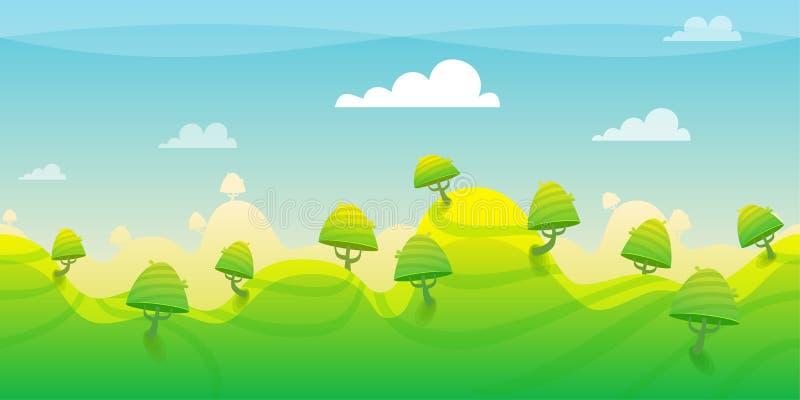 Groene Bergen met boomachtergrond royalty-vrije illustratie